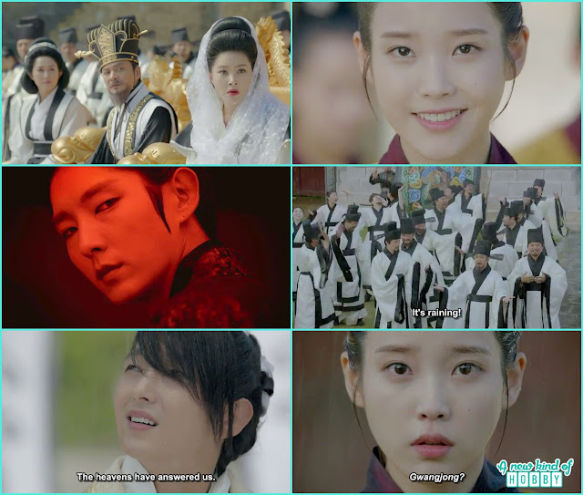 queen yoo shock to see the scar of 4th prince face disappear, the miracle happen and it rained hae soo saw a future vision of 4th prince as king gwanjgjong - Moon Lover Scarlet Heart Ryeo - Episode 8 - Review