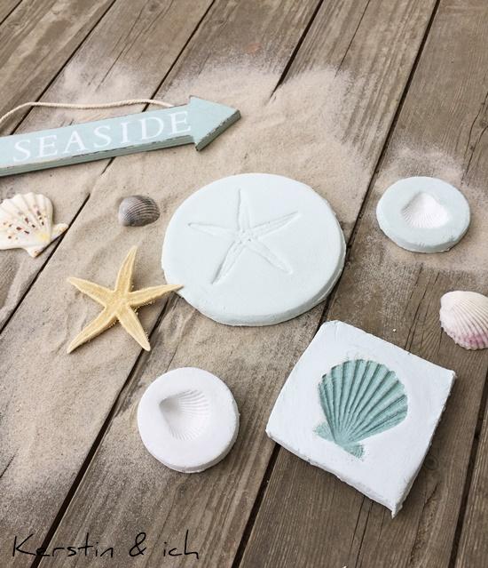 Deko Beach House Modelliermasse Beach Sommer Muscheln Seestern