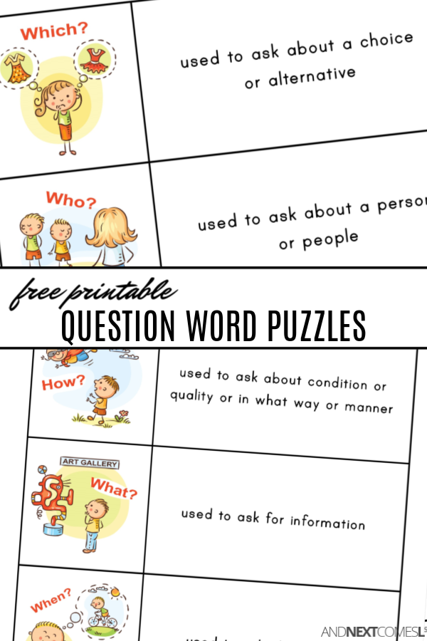 Free printable WH question word puzzles