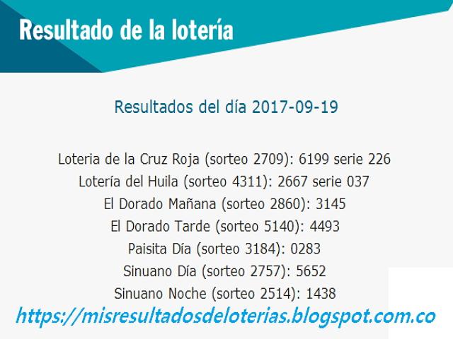 Como jugo la lotería anoche | Resultados diarios de la lotería y el chance | resultados del dia 19-09-2017