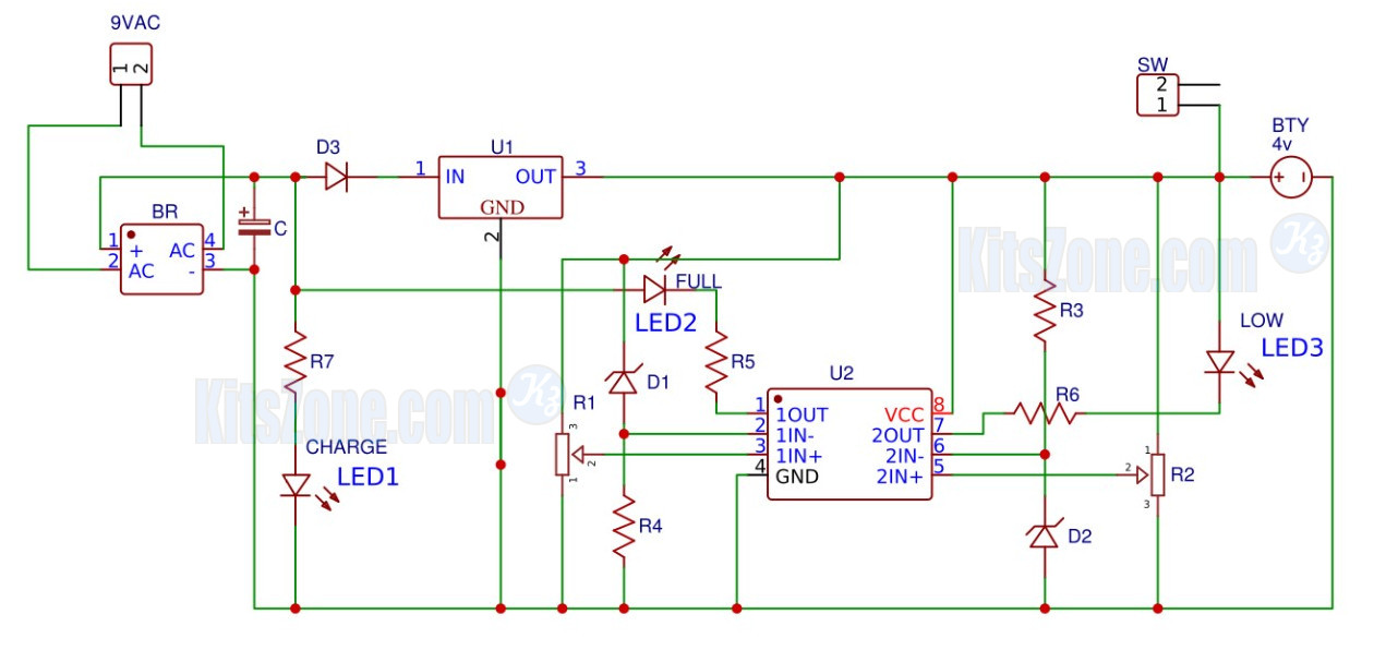 4v lead acid battery charger circuit with overcharge protection and rh simplecircuitsprojects blogspot com Very Simple Electronic Circuits Simple Electronic Circuits DC