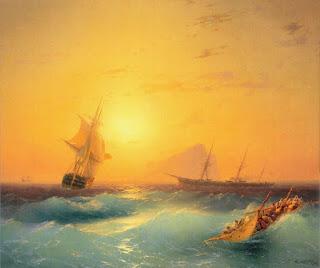 marinas al atardecer con olas y barcos pintura al oleo