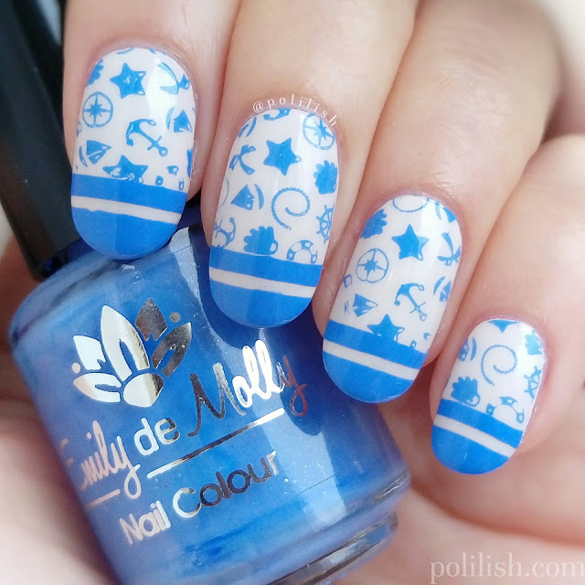 Nautical nails with Emily de Molly 'Powder Blue', by polilish