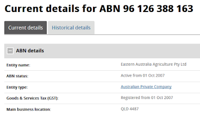 ABN search result for Eastern Australia Agriculture Pty Ltd registered 1 October 2007