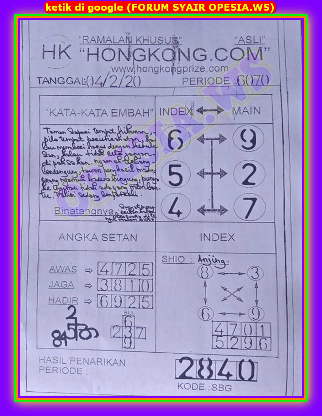 Kode syair Hongkong Selasa 4 Februari 2020 54