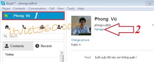 Skype, info Skype, rename Profile
