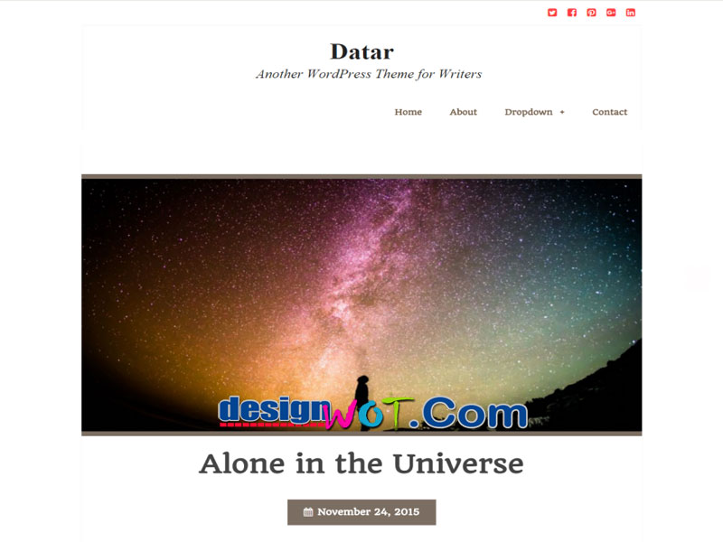 Datar Beautiful One column WordPress Theme