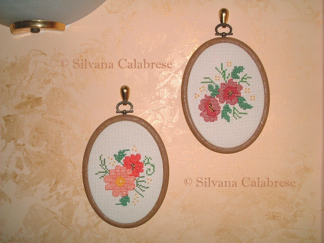 Small oval paintings flowers anemone embroidered cross-stitch Loving San Francisco