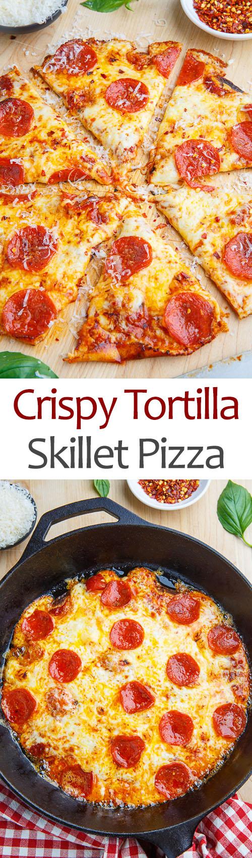 Crispy Tortilla Skillet Pizza