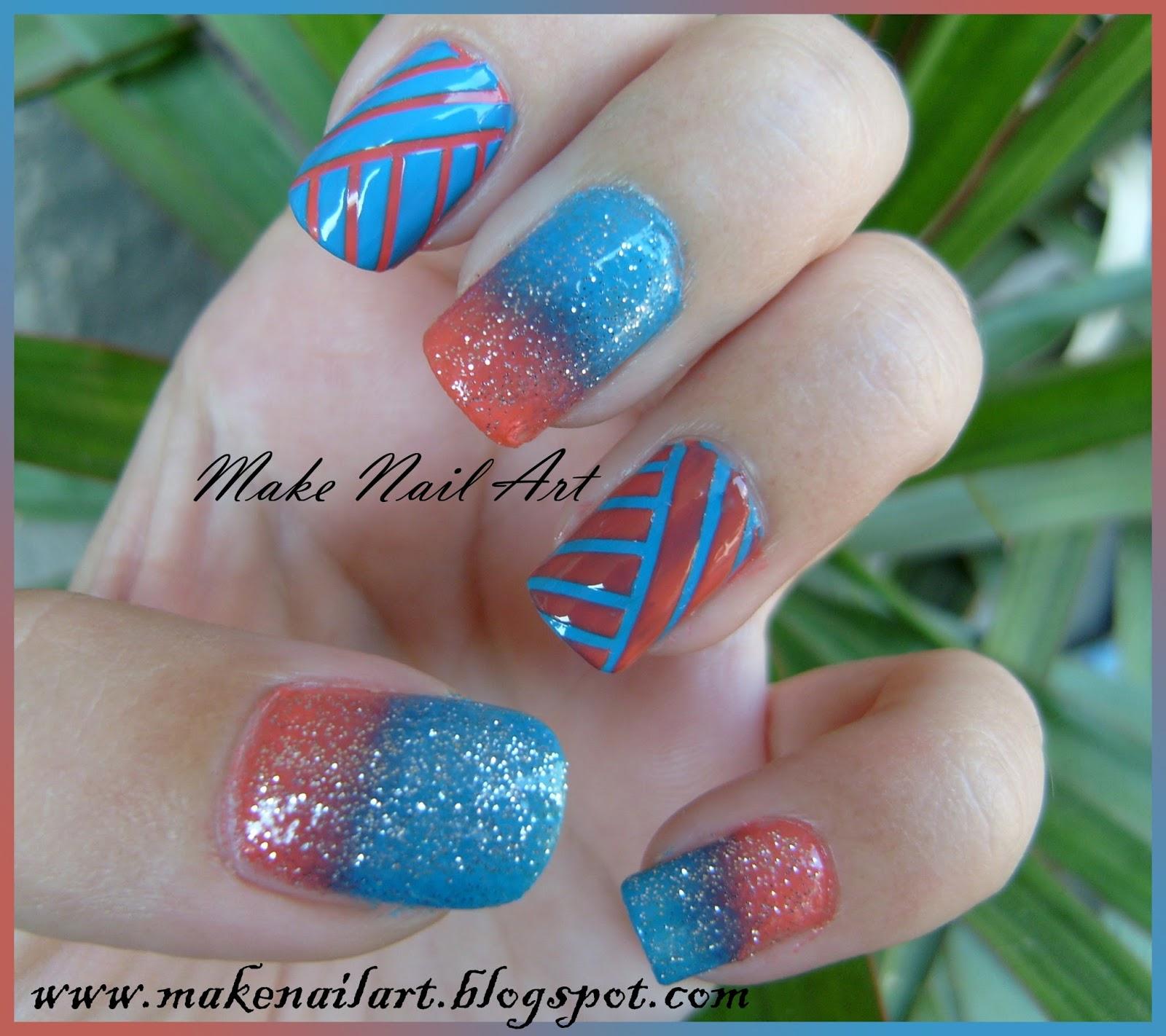 Make Nail Art: Easy Nail Art Design With Gradient And Nail ...