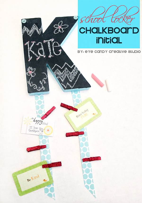 school locker craft for back to school, chalkboard fun, locker initial