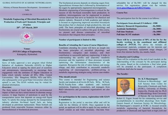 JNTUH-GIAN Workshop on Metabolic Engineering of Microbial