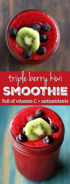 Immunity Boosting Triple Berry Kiwi Smoothie
