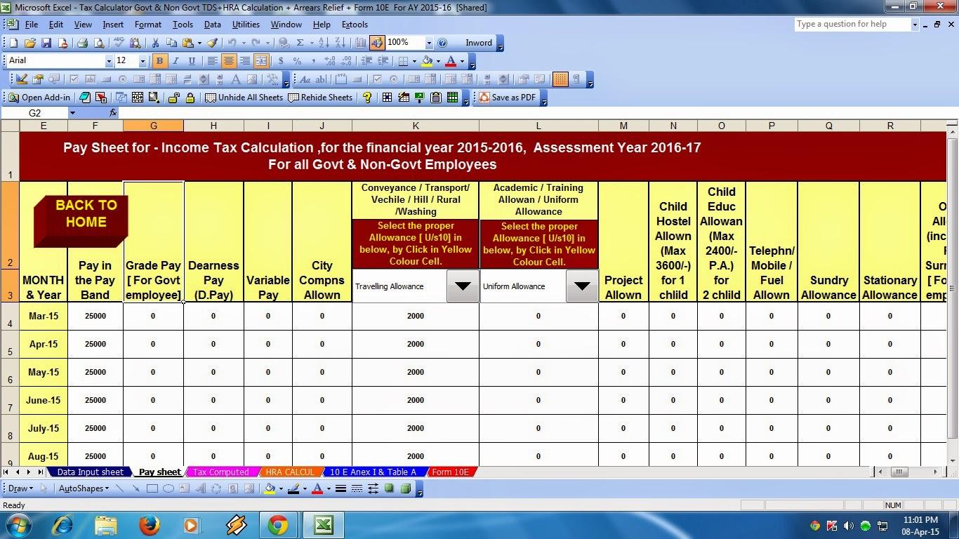 tax calculator for financial year 2015 16