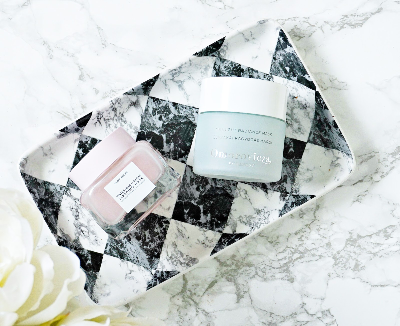 Glow Recipe Watermelon Sleeping Mask, Omorovicza Midnight Radiance Mask