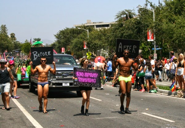 Before After spray tan boys West Hollywood Pride Parade 2014
