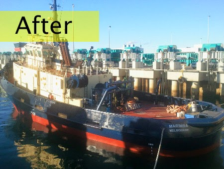 Abrasive blasting can be used to clean the hulls of fibreglass, metal and timber yachts and boats