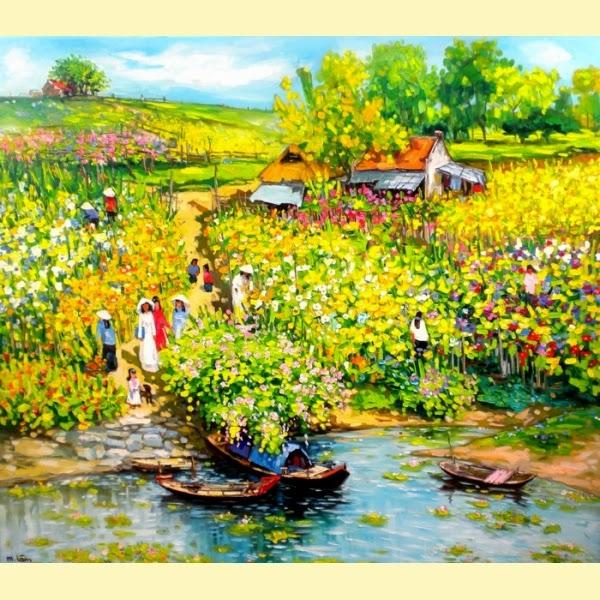 Lírios na Água - Pinturas do vietnamita Lam Duc Manh