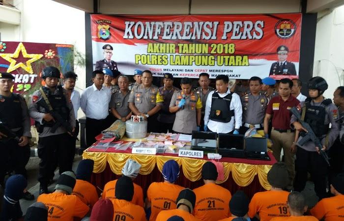 Tindak Kejahatan di Wilayah Hukum Polres Lampung Utara, di tahun 2018 Menurun Dibandingkan Tahun Sebelumnya