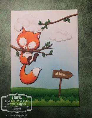 Grußkarte mit dem Fuchs von Wild Rose Studio und einer kleinen Landschaft