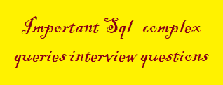 Important Sql complex queries interview questions