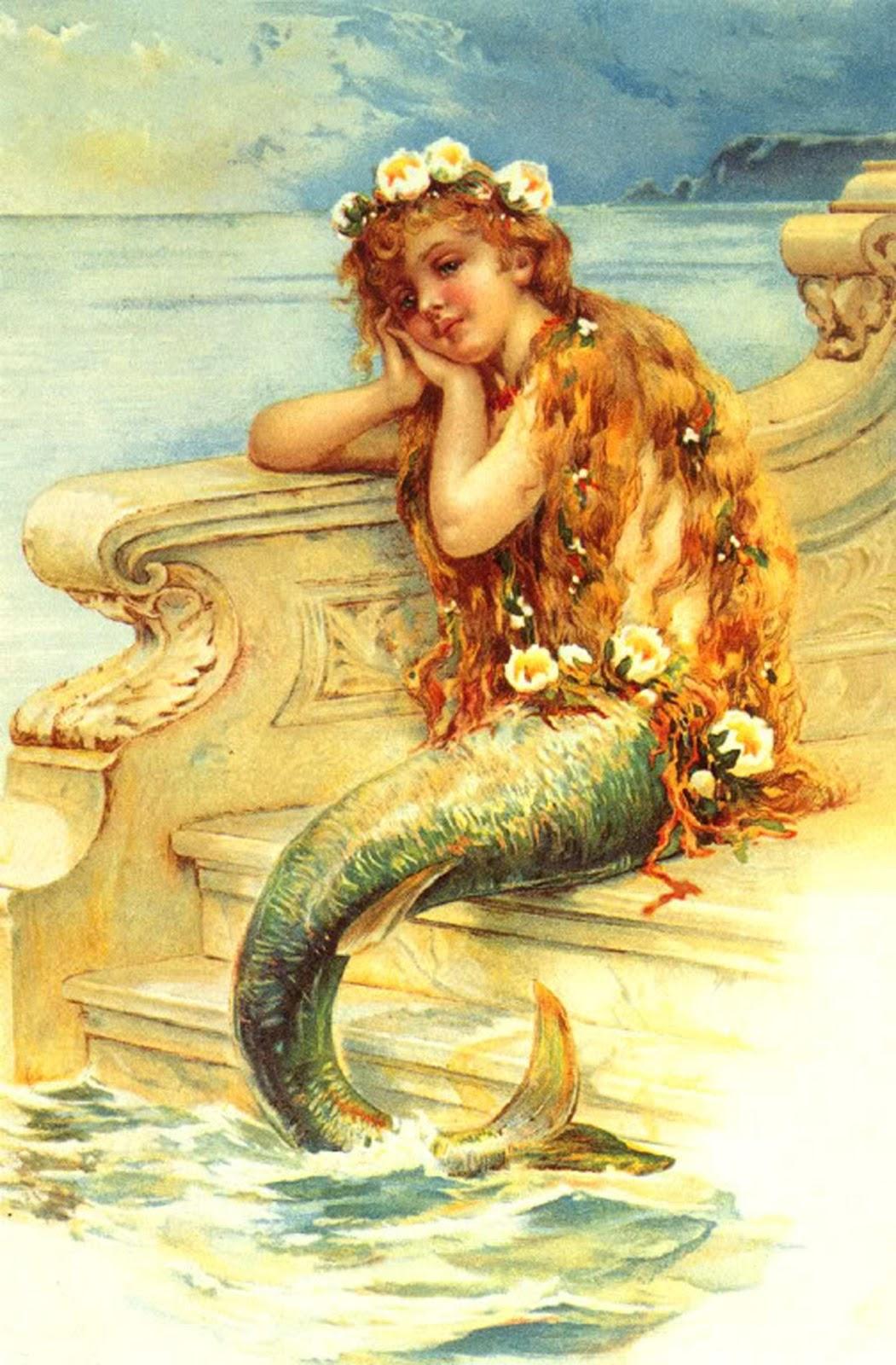 The Artzee Blog Vintage Little Mermaid Illustration Printable