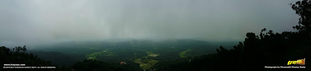 A panoramic view from Raja's seat, from a recent visit during monsoon