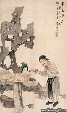 """""""Tương kính như tân"""" - dùng lễ để đối đãi với nhau Mỗi lần bà dâng cơm cho chồng đều dâng bằng 2 tay, ngược lại Khổng Minh cũng cung kính dùng 2 tay đón nhận."""