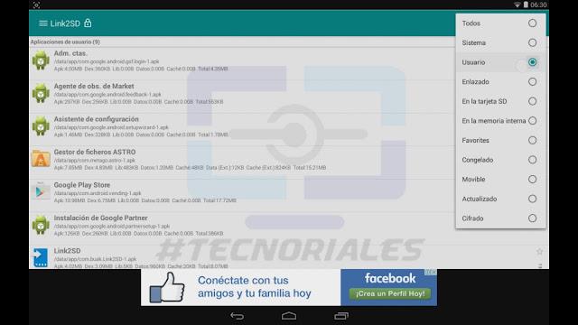 Filtrado de las aplicaciones instaladas por el usuario en Link2Sd