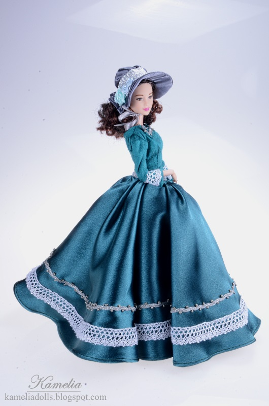 Long gown for Barbie doll inspired by 19th century fashion.
