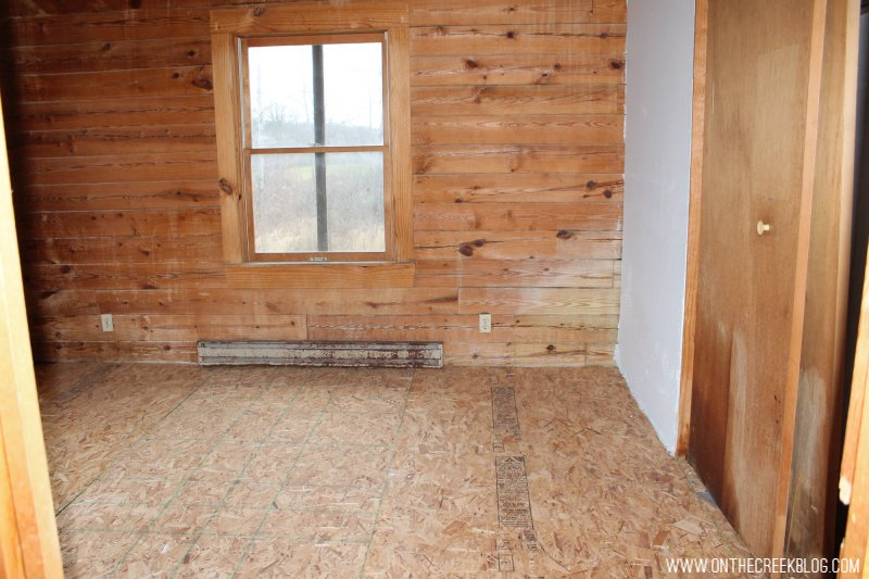 'Before' photo of our downstairs bedroom when we first purchased our fixer upper!