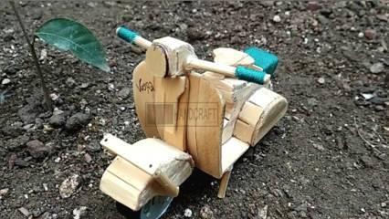 Cara Membuat Miniatur Motor dari Stik Es Krim