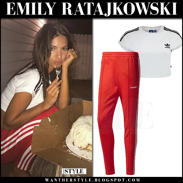 8a7e566a171ad4 Emily Ratajkowski in white crop top and red 3 stripe track pants from Adidas