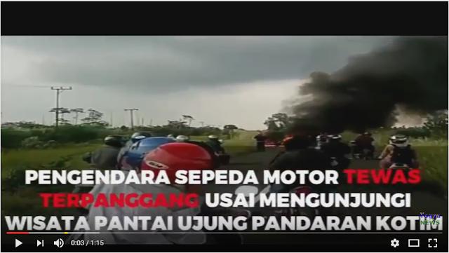 Detik-detik Pengendara Motor Tewas Terpanggang Usai Jatuh dan Kendaraannya Terbakar Di Kalimantan Tengah.