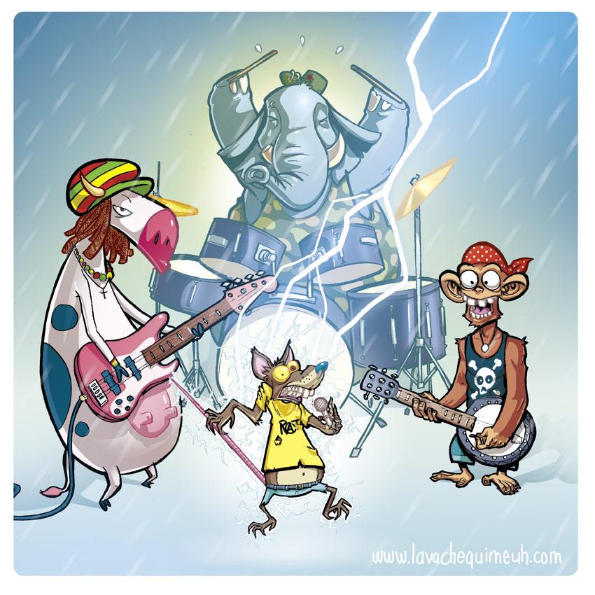 dessin drôle d'un groupe de musiciens animal