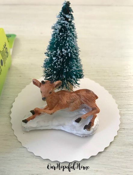 mini deer bottle brush tree DIY snow globe ornament fillers