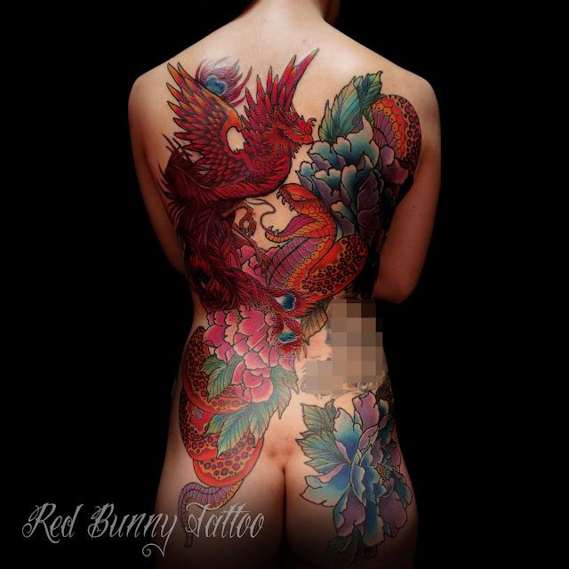 tattoo タトゥー 鳳凰 蛇 牡丹 刺青 デザイン