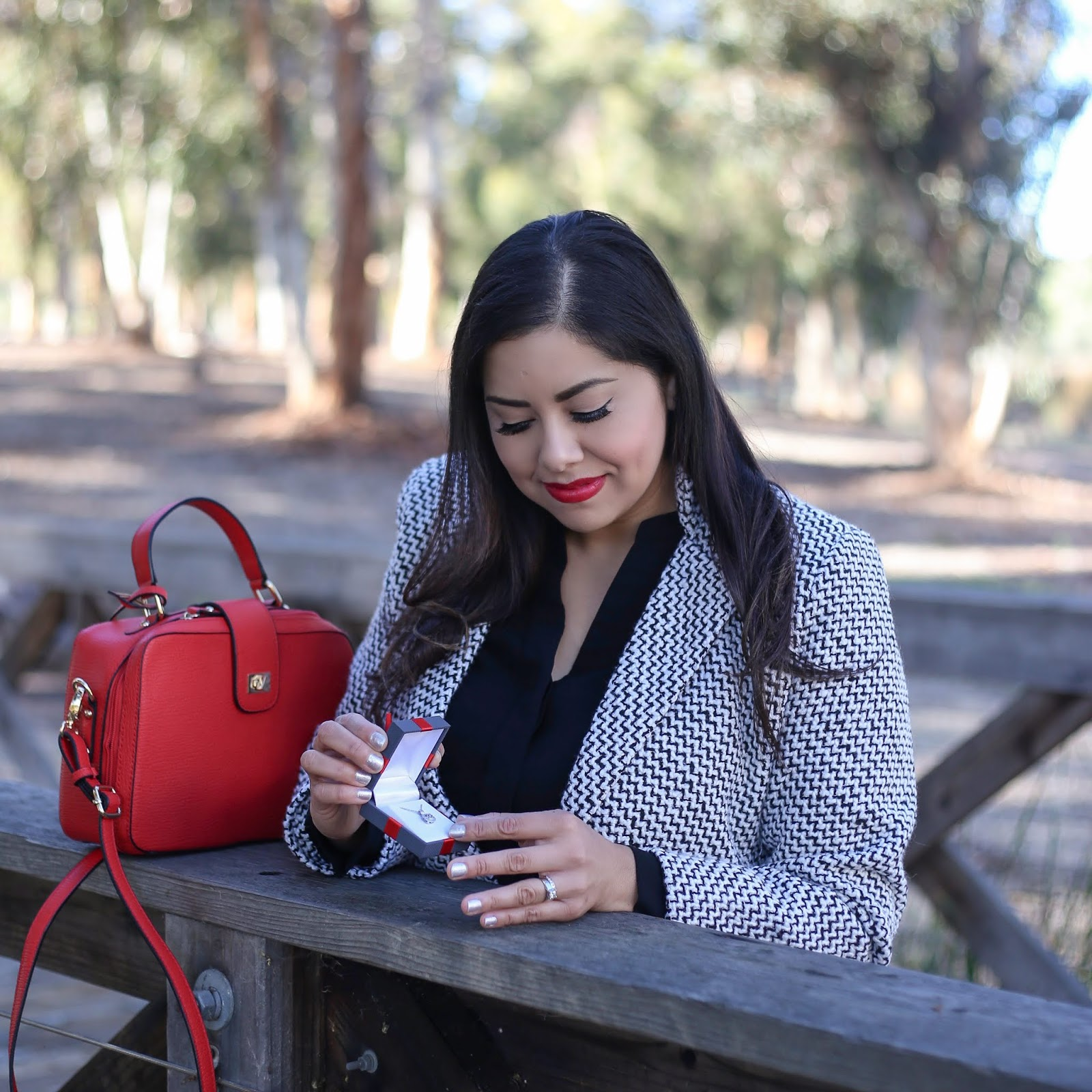 JCPenney fine jewelry, San Diego Style Blogger, red galian handbags