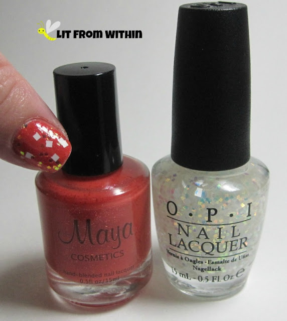 Bottle shot:  Maya Cosmetics Beyond The Pale, and OPI Lights of Emerald City.