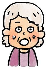 おばあさんの表情のイラスト(驚き)