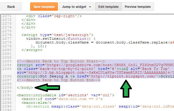 Implement Back To Top Button In Blogger 3