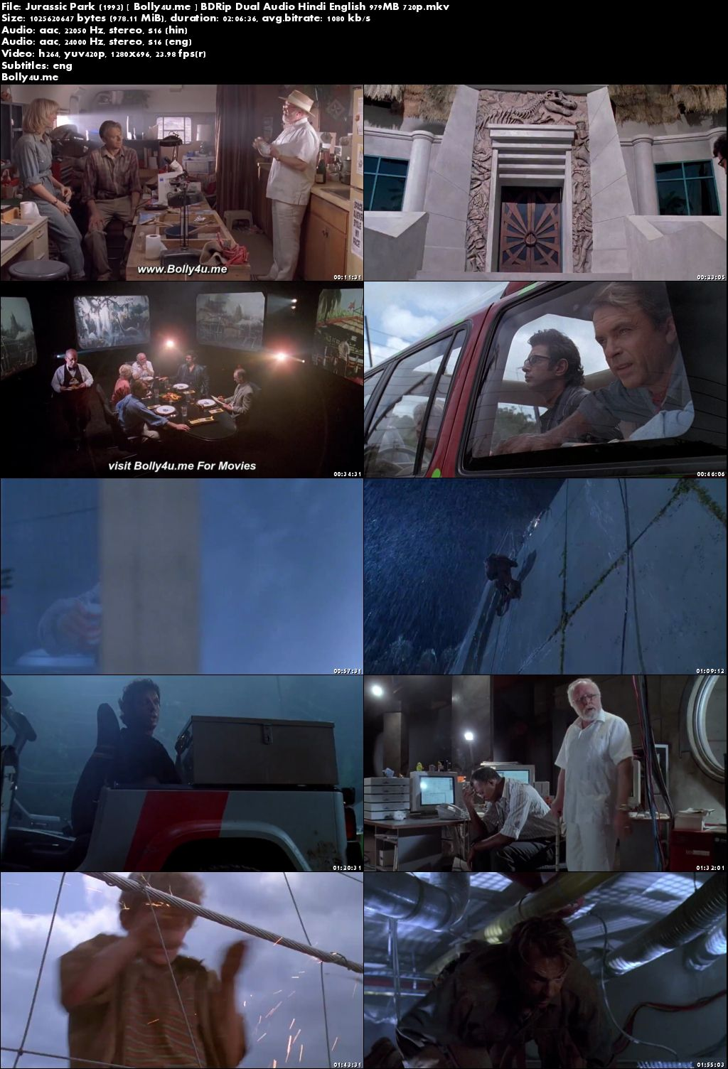 Jurassic Park 1993 BDRip 400MB Hindi Dual Audio 480p ESub Download