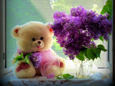 teddybear-skincolor-lovender-flowers-images