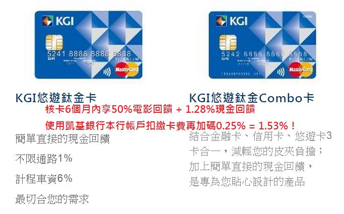 信用卡介紹:KGI凱基銀行悠遊鈦金卡/Combo卡 @ 符碼記憶