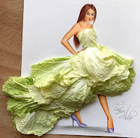Arte con collage de comida - lechuga