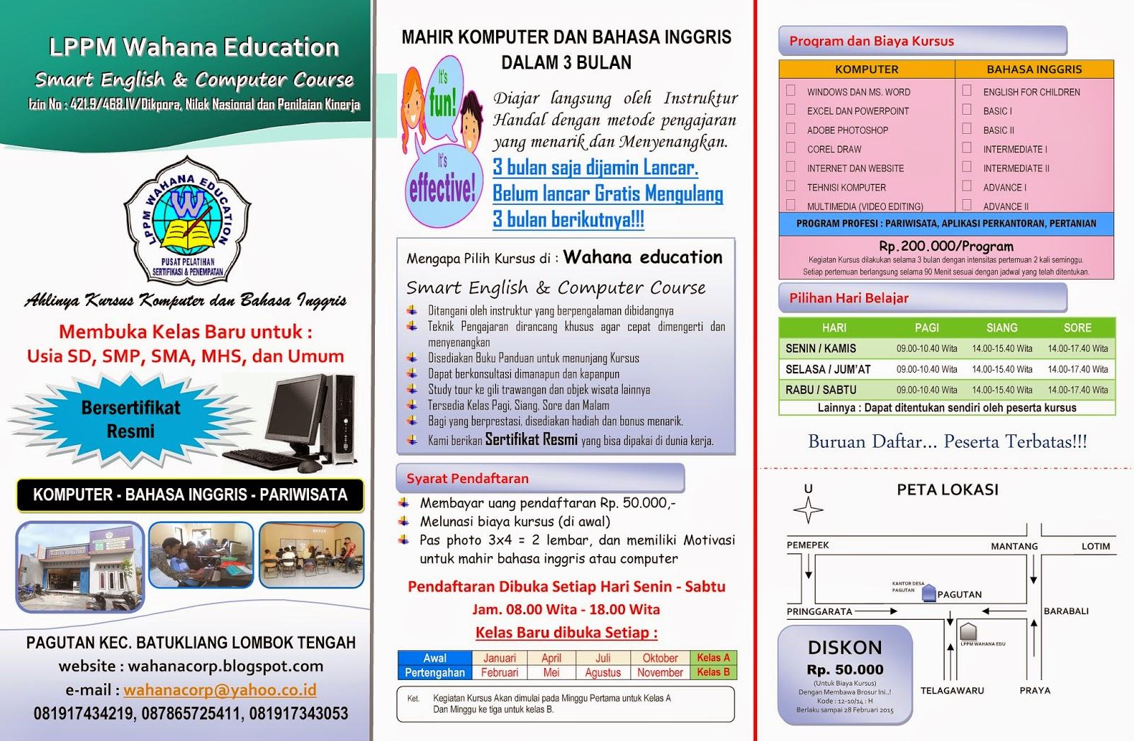 Brosur Kursus Komputer dan Bahasa Inggris Program 3 bulan