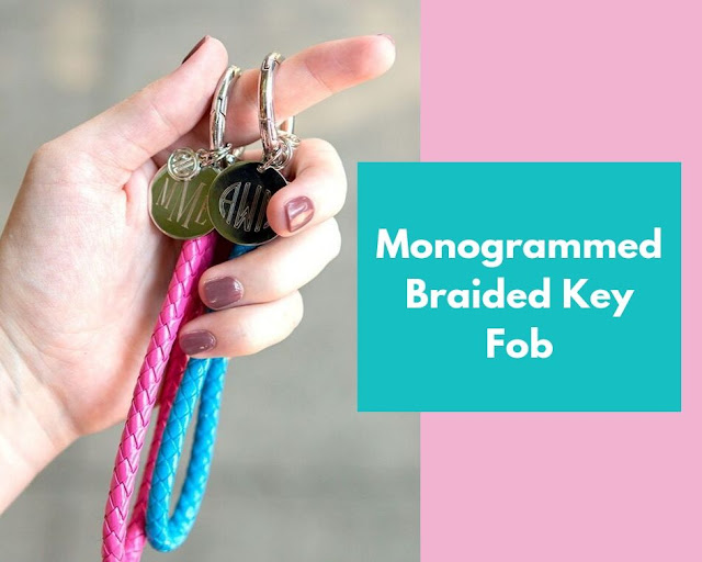 pink and blue key fobs
