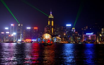 Wallpaper: Skyscrapers in night from Hong Kong