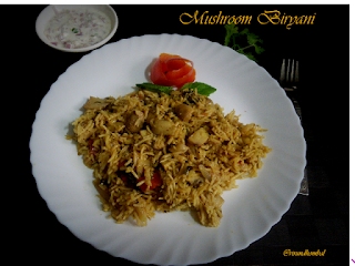 Mushroom Biryani|Rice with button mushrooms|One pot meal|Mushroom recipes|Lunch box recipes|How to prepare mushroom biryani with step by step photos