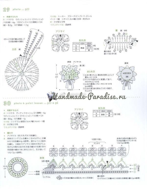 Броши и резинки крючком с цветами гортензии (6)